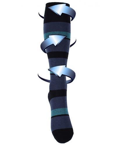 Støttestrømper blåstripete
